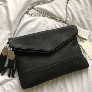 Handbags - Black vegan leather crossbody w/ chain